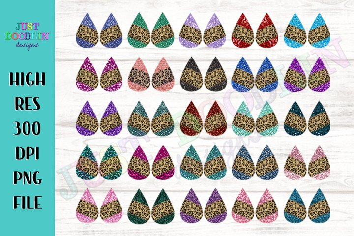 Glitter and Cheetah Teardrop Sublimation Earring Designs