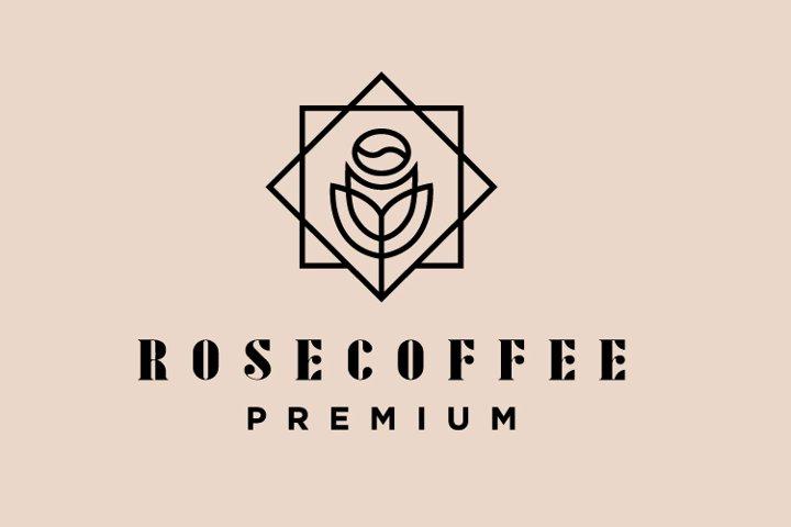 Rose coffee logo template