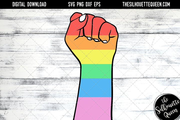 Hand Sketched Closed Fist in Rainbow Colors