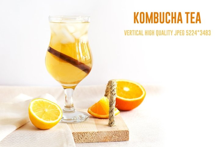 Vertical homemade fermented kombucha tea