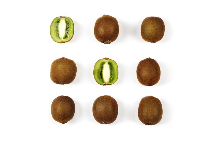 Kiwi fruits on white background
