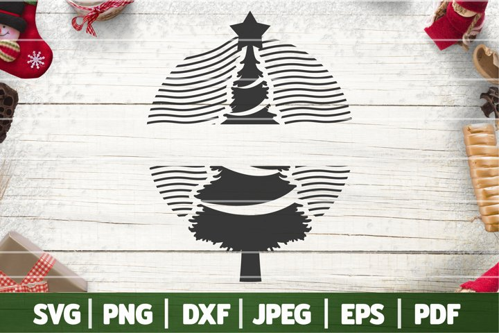 Christmas Tree Monogram SVG, Vintage Christmas Svg