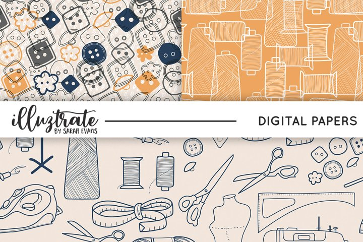 Sewing Patterns | Seamless Digital Papers