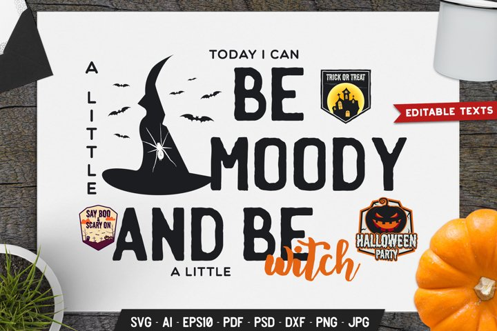 Halloween SVG Cut File Holiday Sign. Be A Little Witch dxf