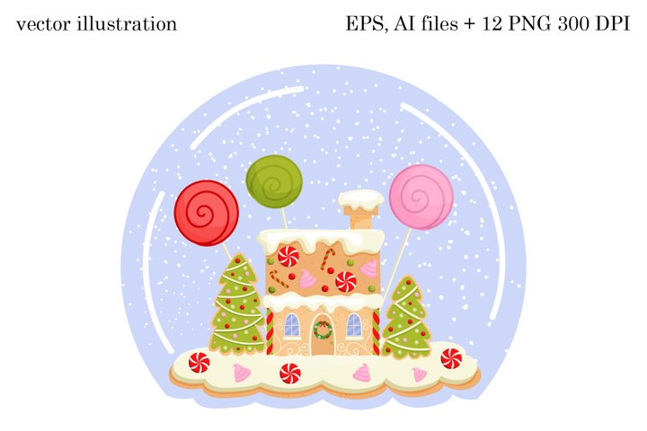Christmas Gingerbread House vector illustration PNG, EPS, Ai