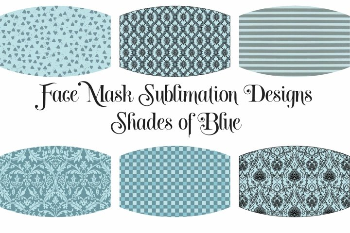 Face Mask Sublimation Designs Blue Colors PNG Files