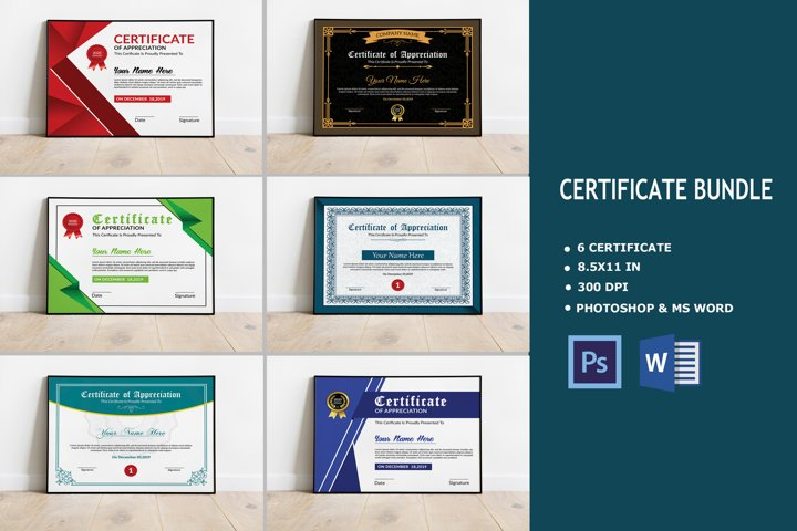Certificate Bundle, Photoshop & Ms Word Template