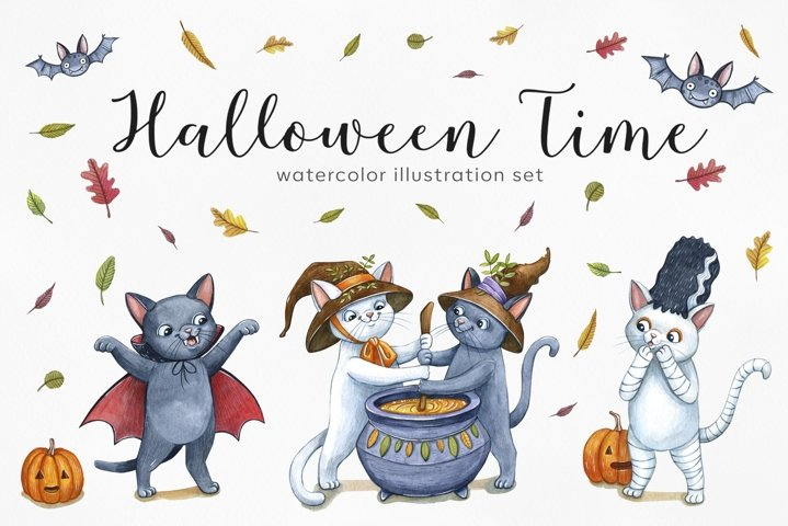 Watercolor set halloween cats. 12 exclusive illustrations