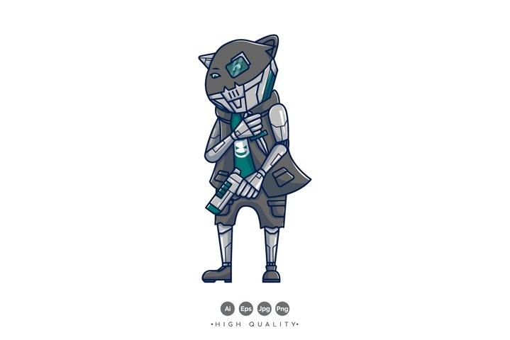 Cyber Cat Vector