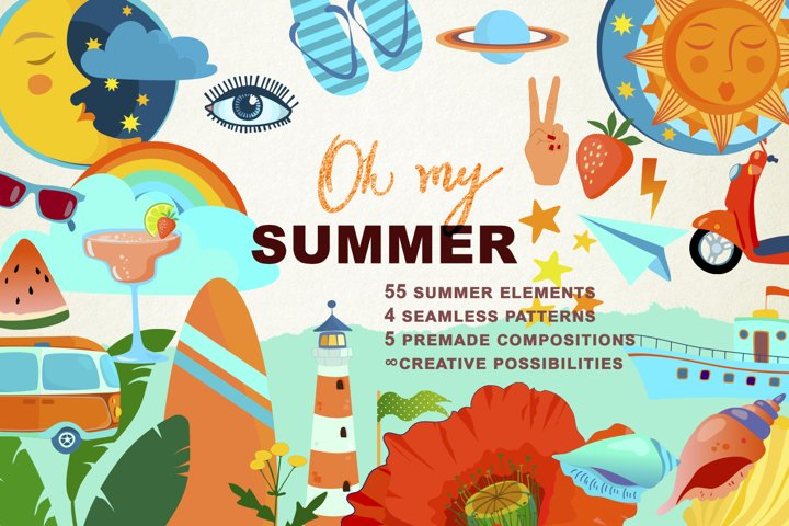Oh My Summer! Bundle of summer clipart.