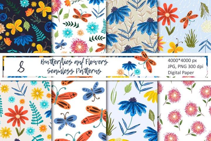 Sketch Butterflies and Flowers Seamless Patterns