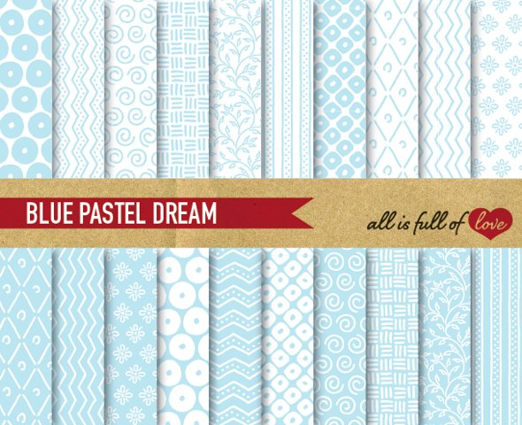 Soft Blue Digital Paper Hand Draw Background Patterns