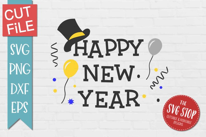 Happy New Year - SVG, PNG, DXF, EPS example