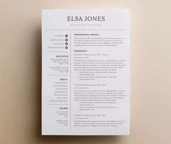 Resume template & Cover Letter + Icon Set for Microsoft Word   3 Page Pack   Minimalistic and professional resume   Instant Download