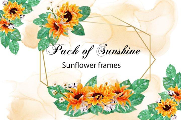 Pack of sunshine- hand painted sunflower frames