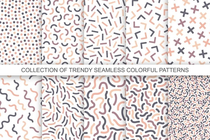 Minimalistic color seamless patterns