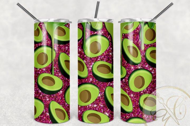 Dripping Avocado Hot Pink Glitter Skinny Tumbler Design
