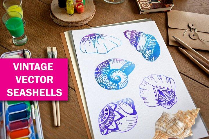 hand-drawn vintage vector shells