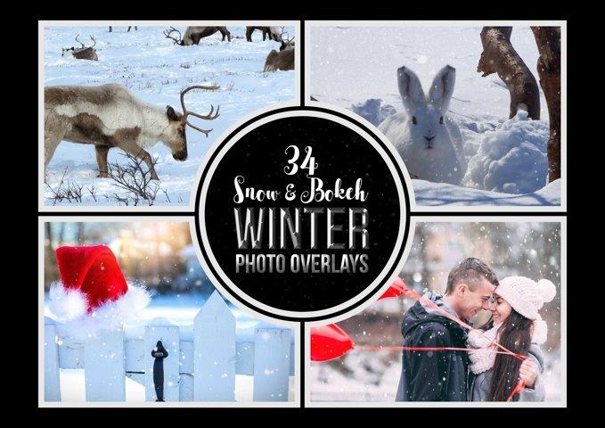 34 Winter Snow and Bokeh Photo Overlays