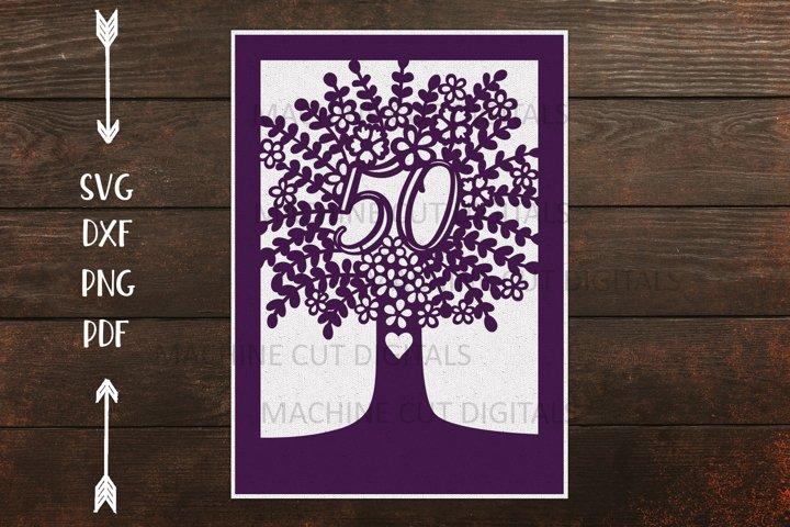 50th Tree Birthday Celebration card paper cut template svg
