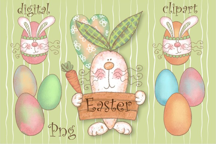 Easter Bunny Png Digital Clipart. Happy Easter Png