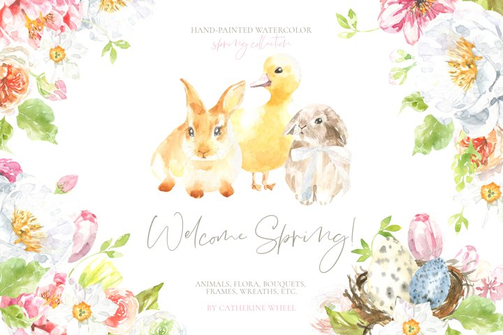 Welcome Spring! Watercolor Easter Bunny illustration