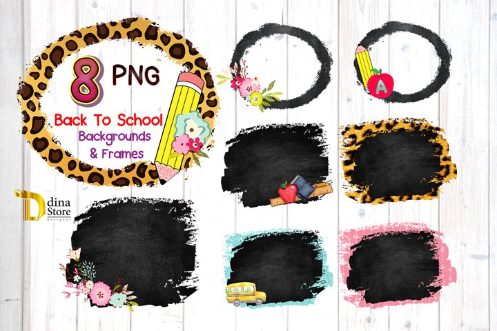Sublimation Back to school Distressed Backgrounds & frames