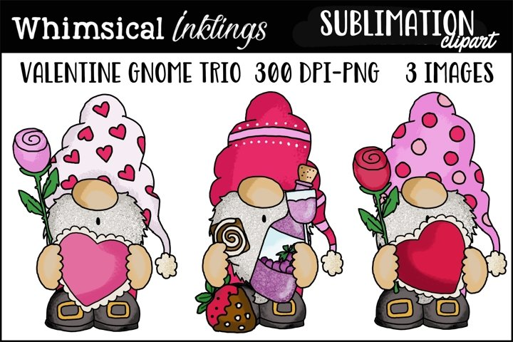 Valentine Gnome Trio Sublimation Clipart