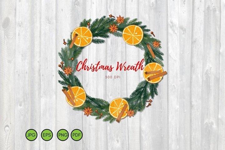 Christmas Wreath PNG. Christmas tree frame Hand drawn vector