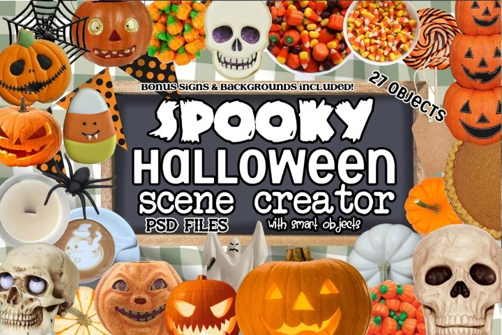 Spooky Halloween Scene Creator-PSD and PNG Files
