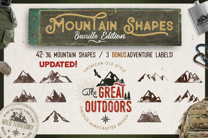 Mountain Icons Symbols SVG Bundle & 3 Logo Templates Vector