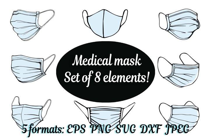 SVG face mask,medical surgical mask,respirator DXF,PNG,EPS