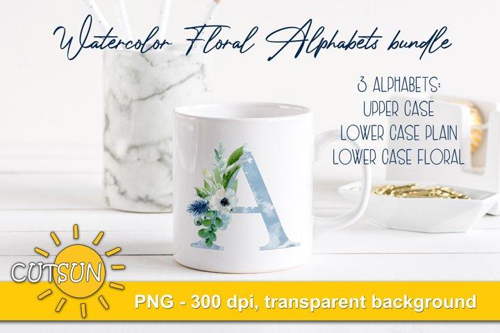 Sublimation Bundle Alphabet| Watercolor Floral alphabet PNG