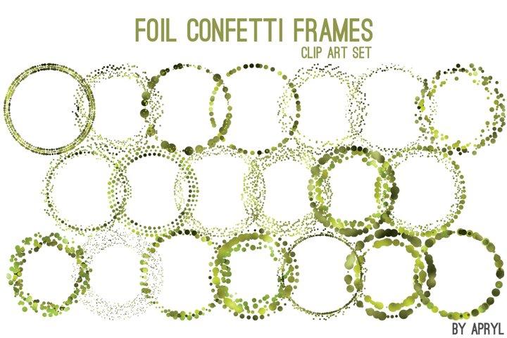Green Foil Round Confetti Frames