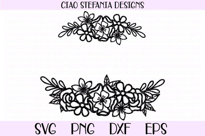 Flower Bouquet Wreath Monogram SVG Cut File