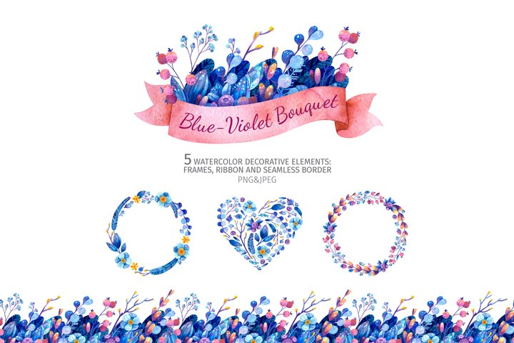 5 frames and wreaths with blue flowers and pink ribbon