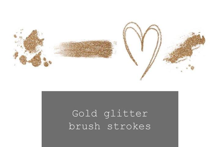 Gold glitter liquid gold heart brush stroke, drop, splatter