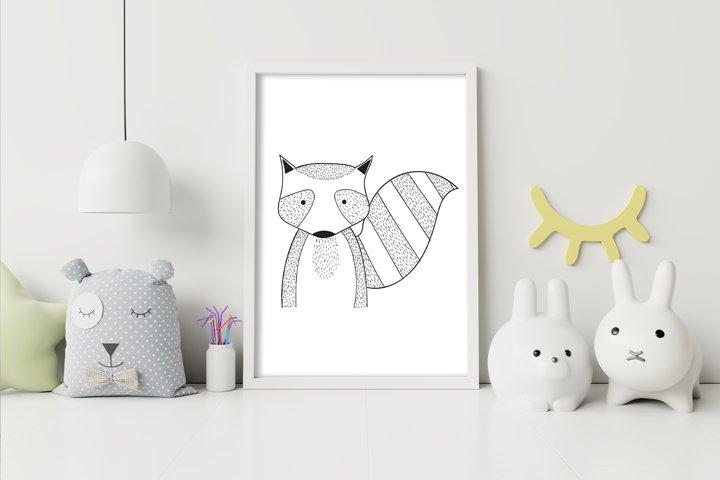 Wall art,Cute raccoon animal clip art
