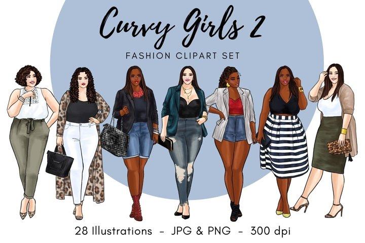 Curvy Girls 2 Fashion Illustration clipart-Light & Dark Skin