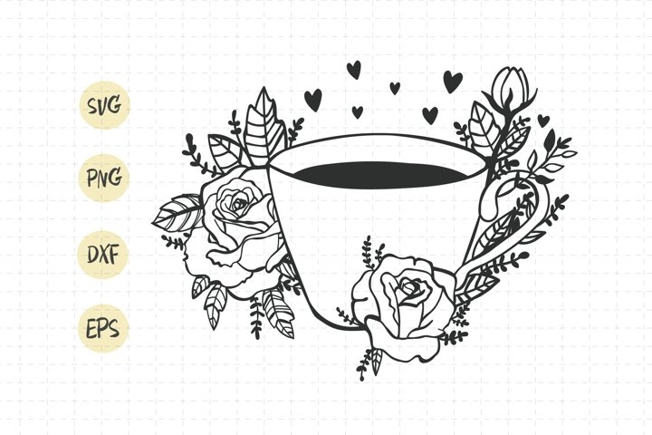 Coffee cup svg / coffee cup flower / tea cup