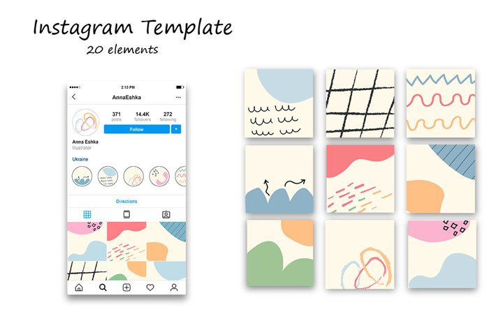 Abstract instagram feed.Canva instagram template.
