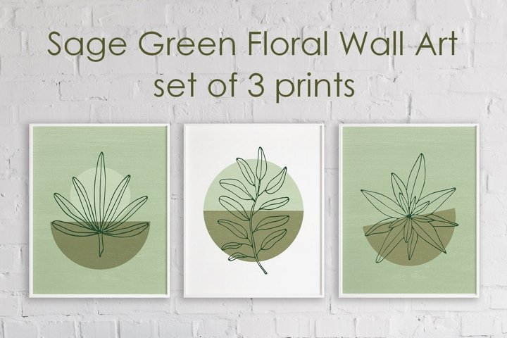 Modern Sage Green Wall Art With Leaf - Set of 3 Prints