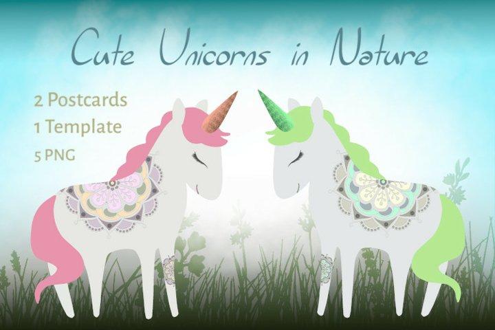 Cute Unicorns in Nature