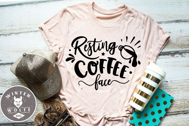 Resting coffee face SVG EPS DXF PNG