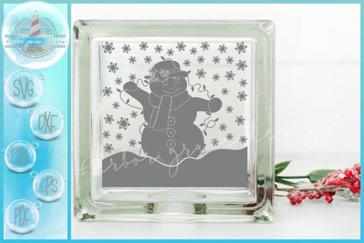 SVG Snowlady with Lights Christmas Glass Block SVG