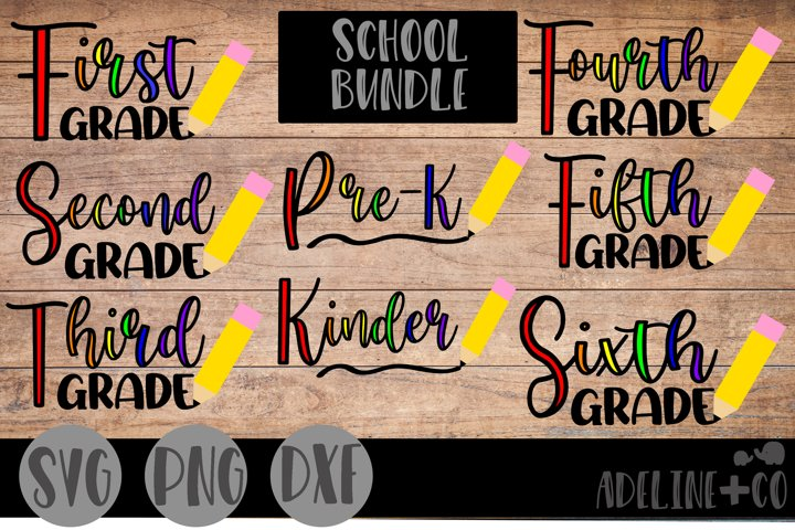 School grade bundle, SVG, PNG, DXF