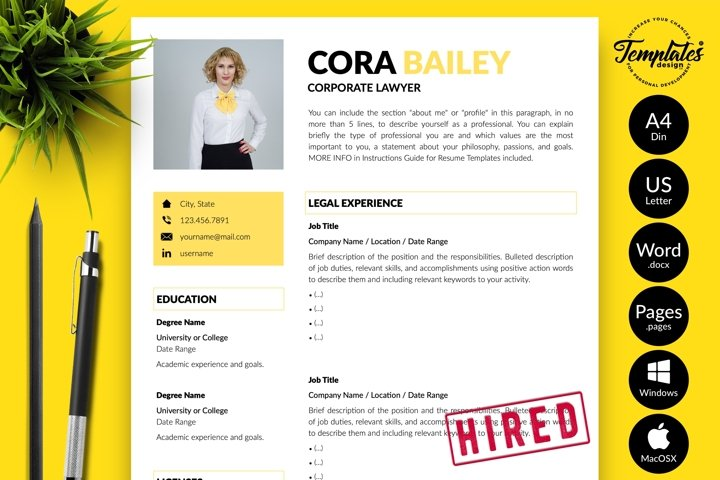 Legal Resume CV Template for Word & Pages Cora Bailey