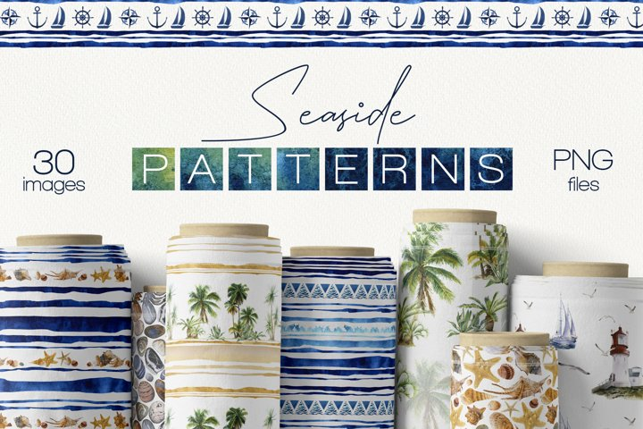 Seaside watercolor seamless patterns set