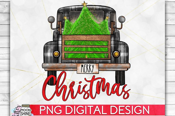 Merry Christmas Plaid Tree Truck PNG Sublimation Design