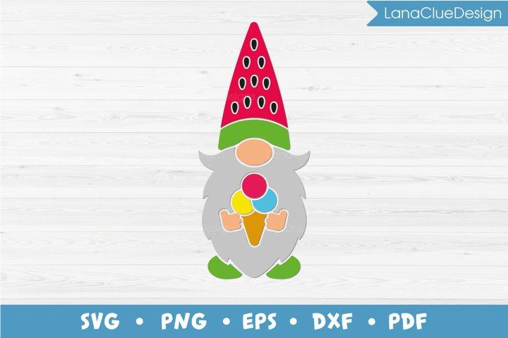 Summer Gnome SVG - Gnome with Icecream